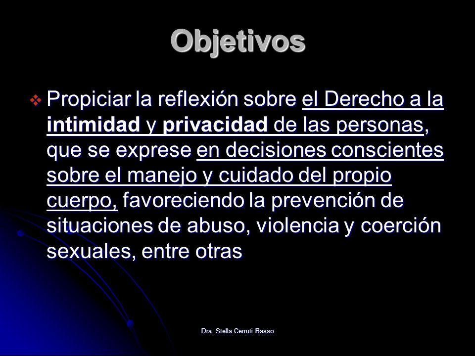Dra. Stella Cerruti Basso Objetivos Propiciar la reflexión sobre el Derecho a la intimidad y privacidad de las personas, que se exprese en decisiones
