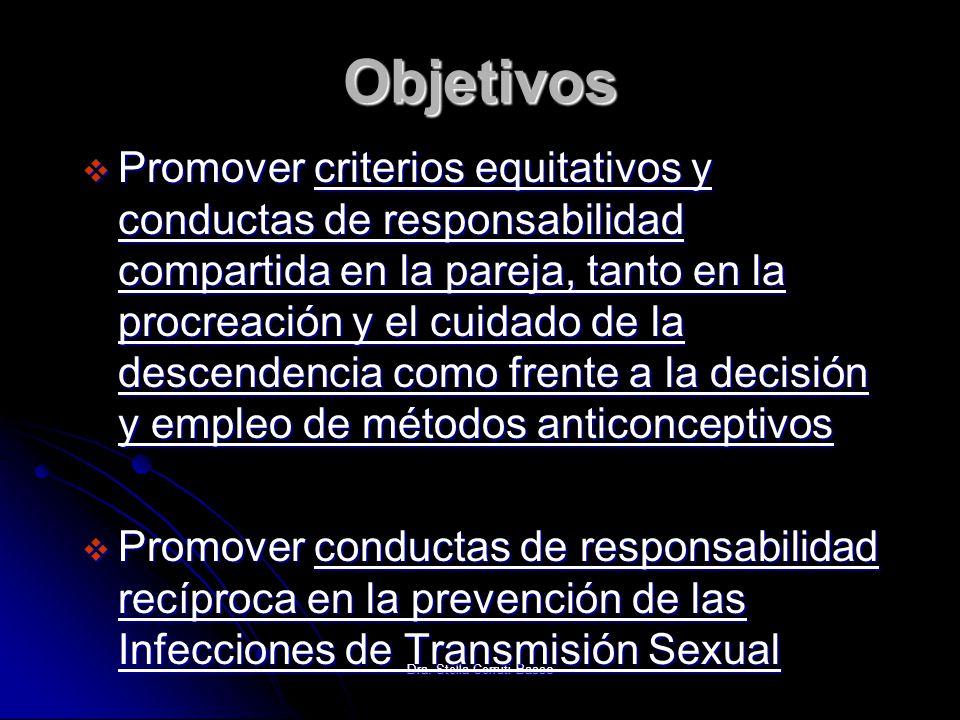 Dra. Stella Cerruti Basso Objetivos Promover criterios equitativos y conductas de responsabilidad compartida en la pareja, tanto en la procreación y e