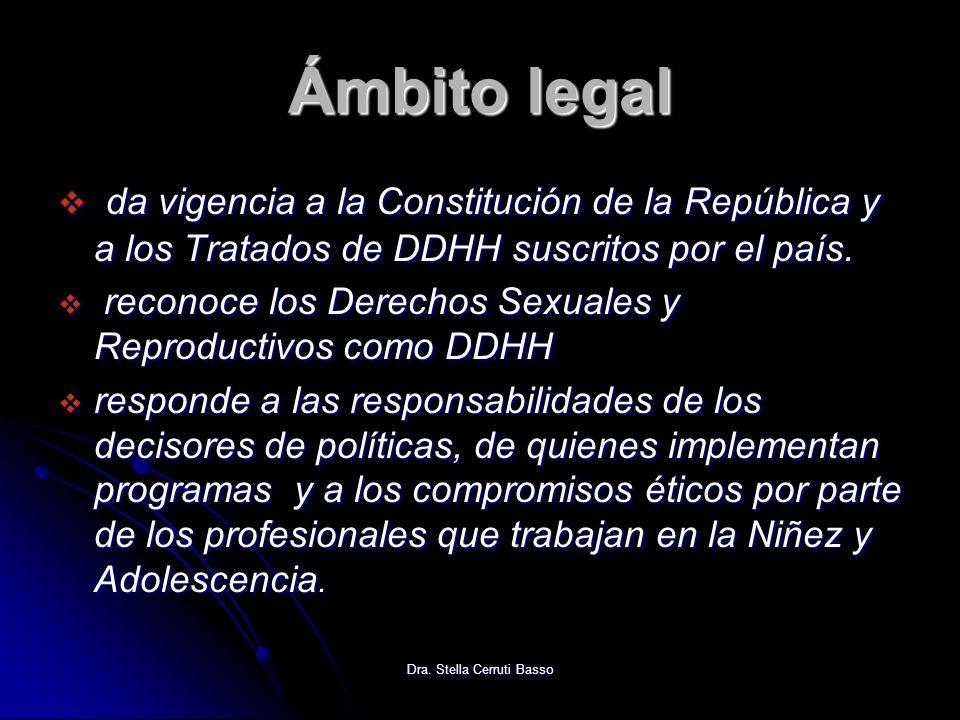 Dra. Stella Cerruti Basso Ámbito legal da vigencia a la Constitución de la República y a los Tratados de DDHH suscritos por el país. da vigencia a la