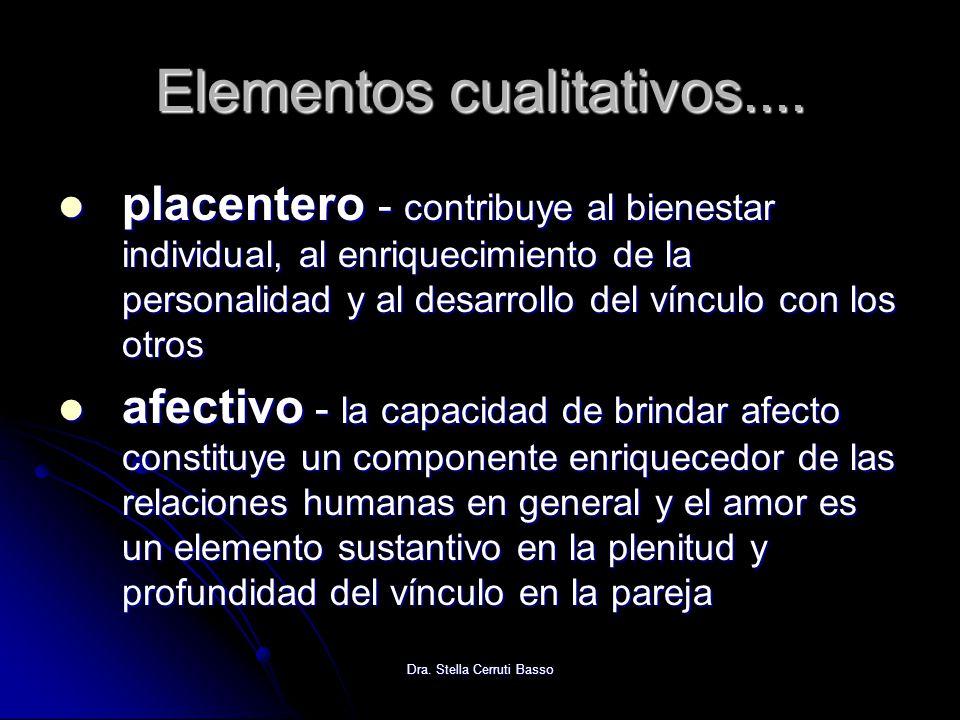 Dra. Stella Cerruti Basso Elementos cualitativos.... placentero - contribuye al bienestar individual, al enriquecimiento de la personalidad y al desar