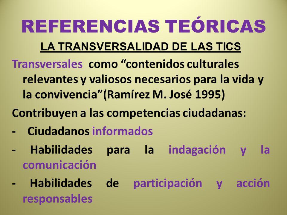 REFERENCIAS TEÓRICAS LA TRANSVERSALIDAD DE LAS TICS Transversales como contenidos culturales relevantes y valiosos necesarios para la vida y la conviv
