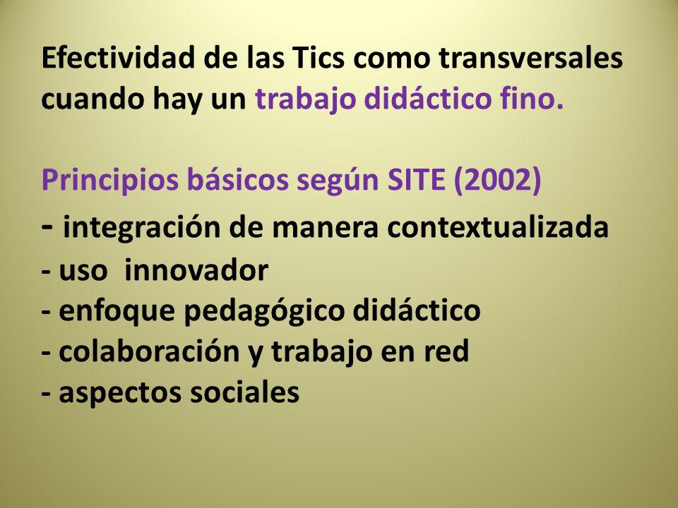 Efectividad de las Tics como transversales cuando hay un trabajo didáctico fino. Principios básicos según SITE (2002) - integración de manera contextu