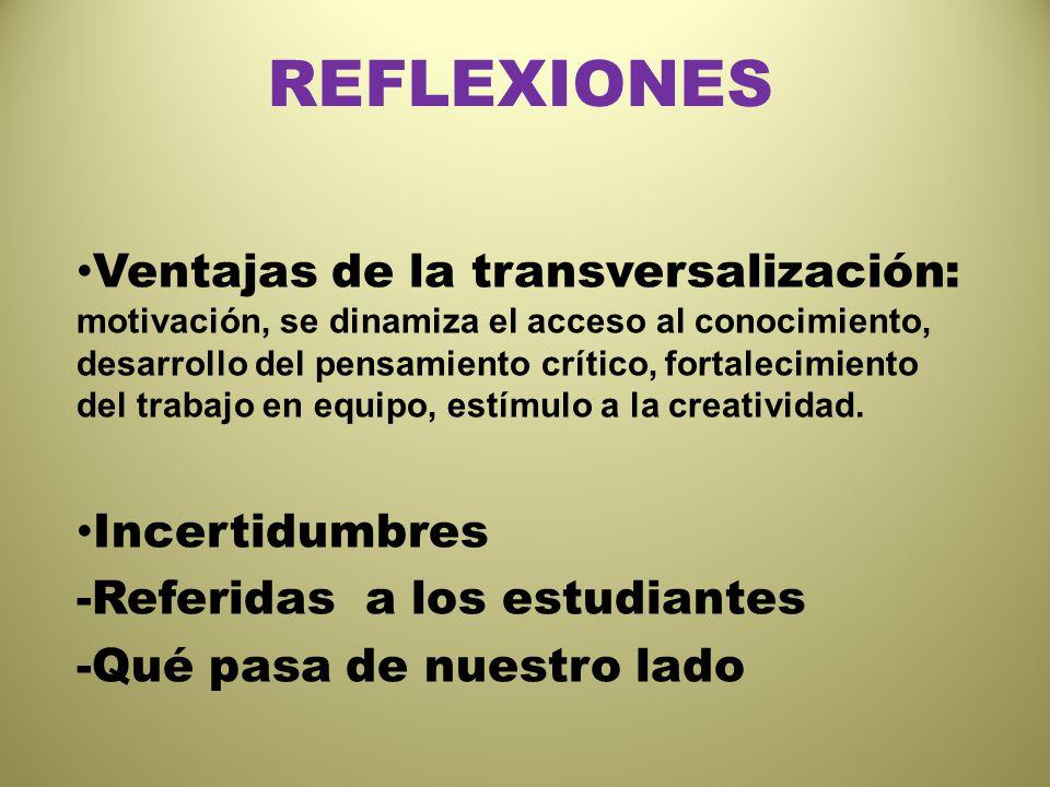 REFLEXIONES Ventajas de la transversalización: motivación, se dinamiza el acceso al conocimiento, desarrollo del pensamiento crítico, fortalecimiento