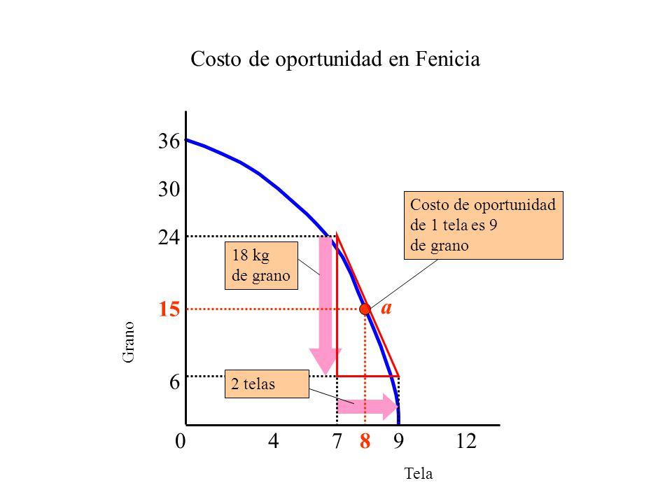 Costo de oportunidad en Fenicia Tela Grano 6 24 40812 30 36 15 79 18 kg de grano a Costo de oportunidad de 1 tela es 9 de grano 2 telas