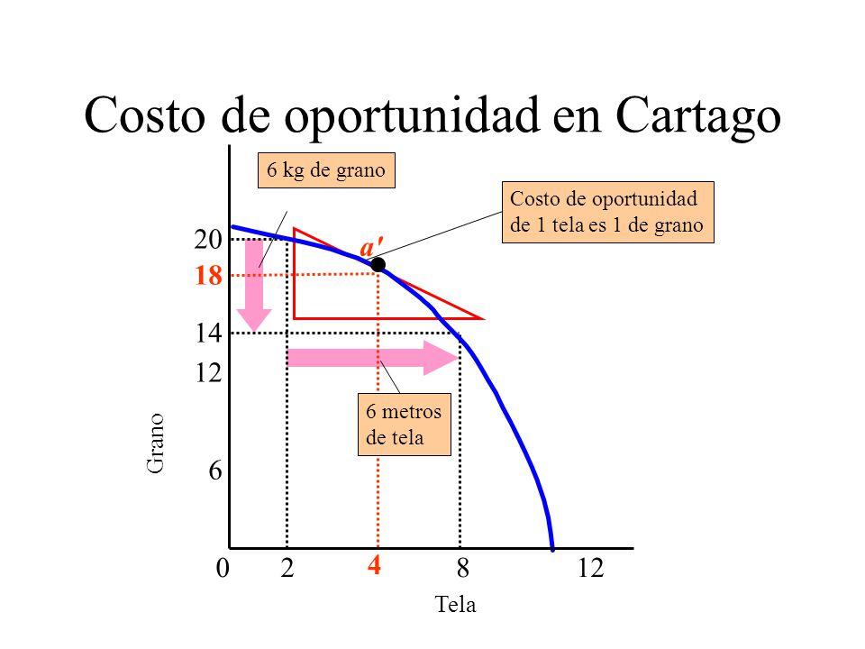 Costo de oportunidad en Cartago Tela Grano 6 18 4 0812 2 14 20 6 metros de tela a Costo de oportunidad de 1 tela es 1 de grano 6 kg de grano