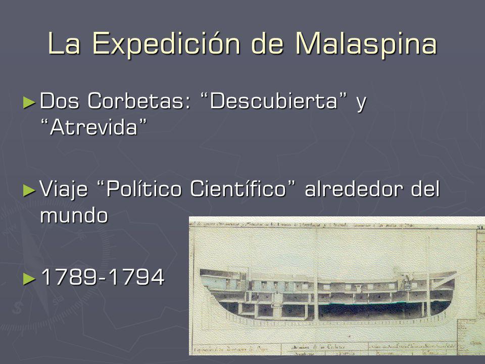 La Expedición de Malaspina Dos Corbetas: Descubierta y Atrevida Dos Corbetas: Descubierta y Atrevida Viaje Político Científico alrededor del mundo Viaje Político Científico alrededor del mundo 1789-1794 1789-1794