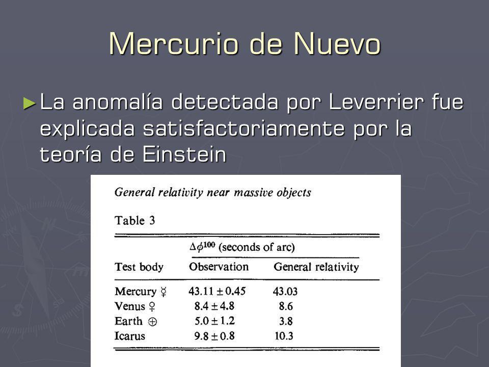 Mercurio de Nuevo La anomalía detectada por Leverrier fue explicada satisfactoriamente por la teoría de Einstein La anomalía detectada por Leverrier fue explicada satisfactoriamente por la teoría de Einstein