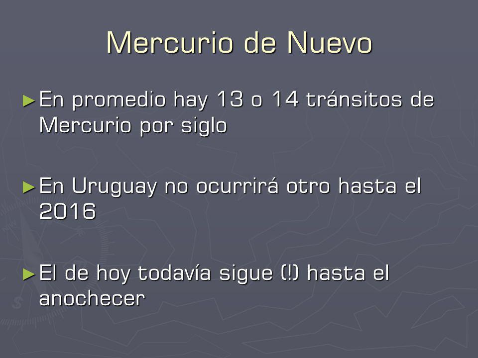 Mercurio de Nuevo En promedio hay 13 o 14 tránsitos de Mercurio por siglo En promedio hay 13 o 14 tránsitos de Mercurio por siglo En Uruguay no ocurrirá otro hasta el 2016 En Uruguay no ocurrirá otro hasta el 2016 El de hoy todavía sigue (!) hasta el anochecer El de hoy todavía sigue (!) hasta el anochecer
