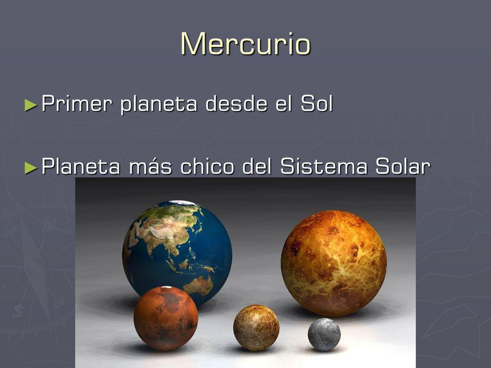 Mercurio Primer planeta desde el Sol Primer planeta desde el Sol Planeta más chico del Sistema Solar Planeta más chico del Sistema Solar