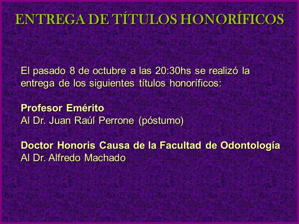CONTENIDO ENTREGA DE TÍTULOS HONORÍFICOS CARRERA DE ESPECIALIZACIÓN EN CIRUGÍA BUCO MAXILO FACIAL JORNADAS DE JÓVENES INVESTIGADORES 50 AÑOS DE LEY ORGÁNICA DE LA UDELAR APROBACIÓN DE FONDOS PARA EL PROYECTO DE ACREDITACIÓN DE LA CARRERA DE DOCTOR EN ODONTOLOGÍA EVALUACIÓN EXTERNA CENTRO UNIVERSITARIO DE LA REGIÓN ESTE (CURE)