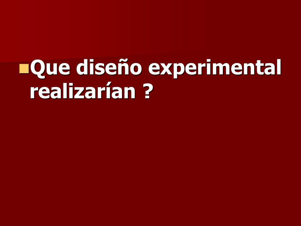 Que diseño experimental realizarían ? Que diseño experimental realizarían ?