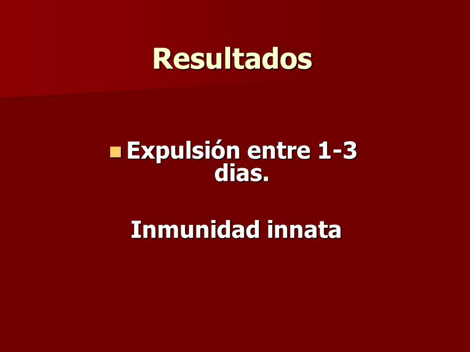 Resultados Expulsión entre 1-3 dias. Expulsión entre 1-3 dias. Inmunidad innata Inmunidad innata