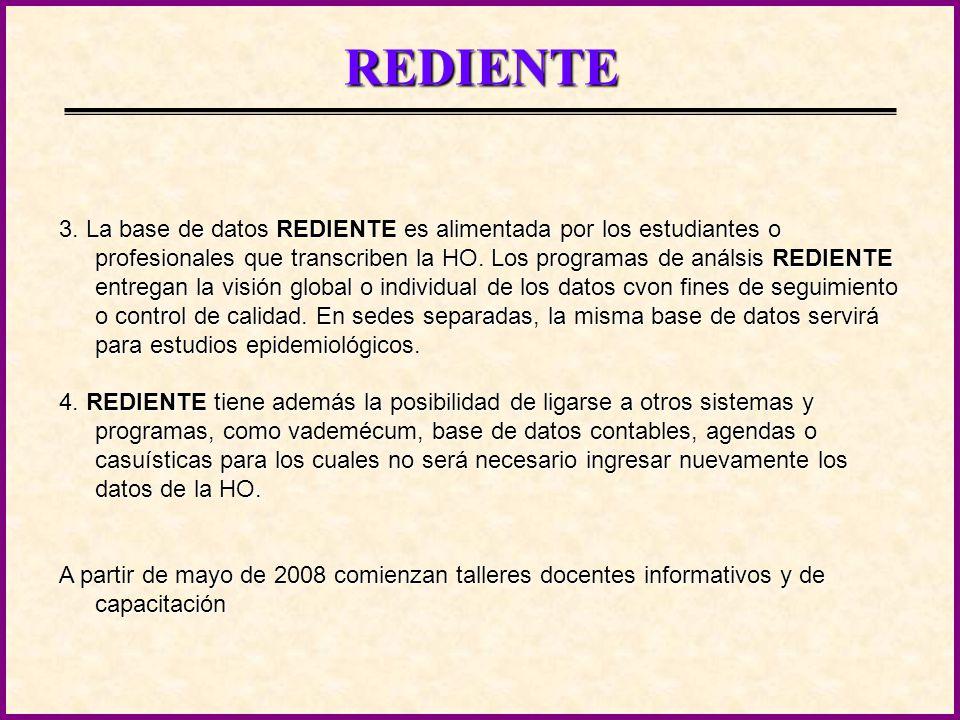 REDIENTE Los objetivos de REDIENTE siendo los de asegurar una documentación clara, ubicua y auditable, disponible para estudios de investigación, su uso involucra diferentes soportes materiales y tecnologías: 1.