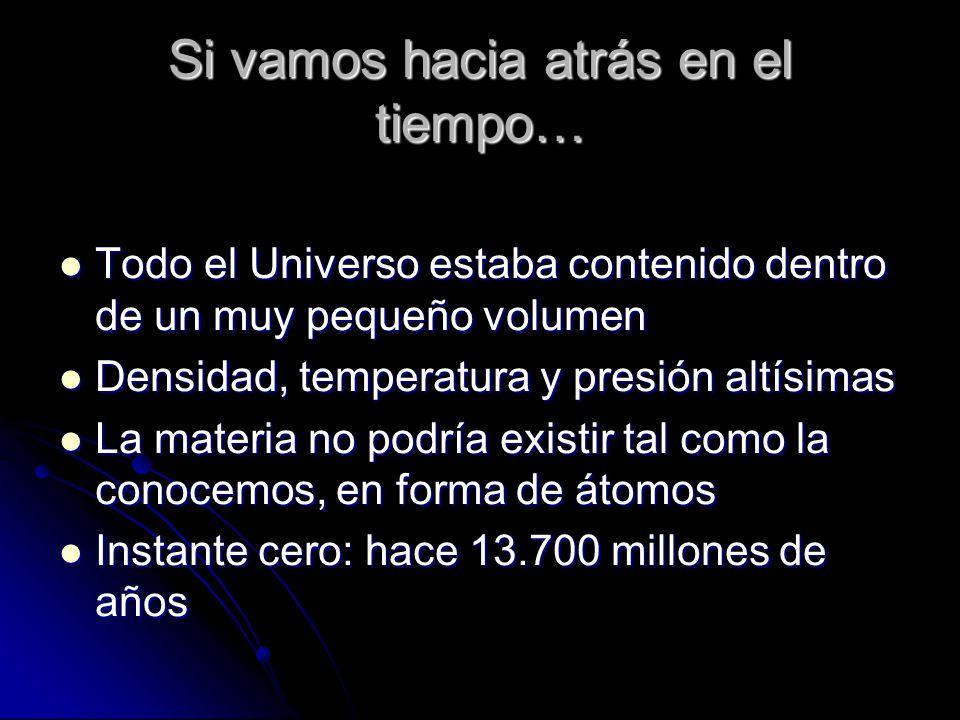Si vamos hacia atrás en el tiempo… Todo el Universo estaba contenido dentro de un muy pequeño volumen Todo el Universo estaba contenido dentro de un muy pequeño volumen Densidad, temperatura y presión altísimas Densidad, temperatura y presión altísimas La materia no podría existir tal como la conocemos, en forma de átomos La materia no podría existir tal como la conocemos, en forma de átomos Instante cero: hace 13.700 millones de años Instante cero: hace 13.700 millones de años