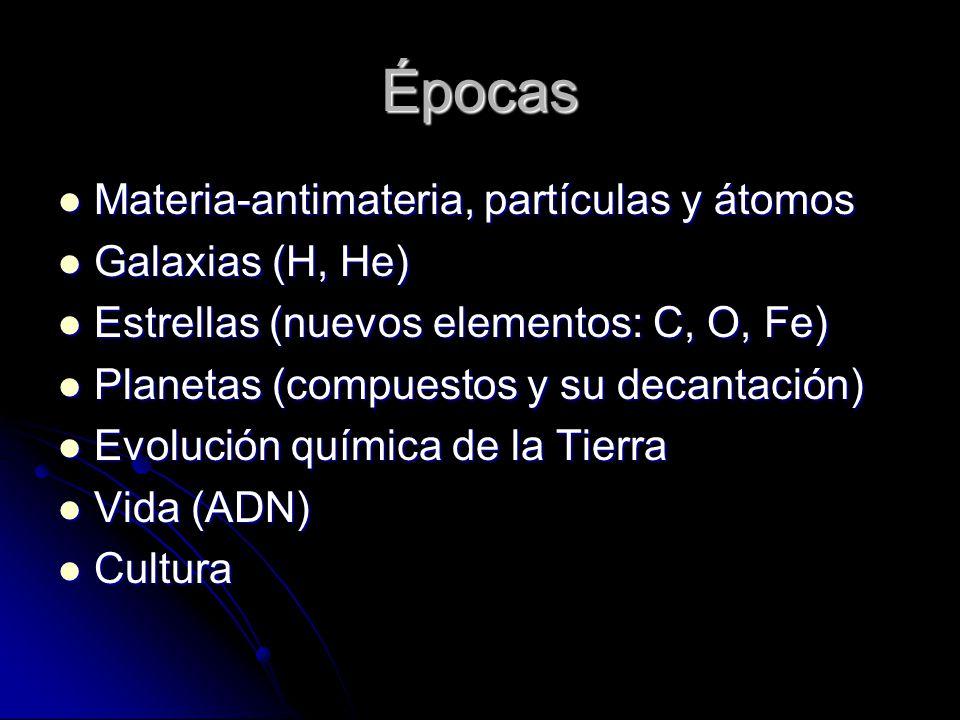 Épocas Materia-antimateria, partículas y átomos Materia-antimateria, partículas y átomos Galaxias (H, He) Galaxias (H, He) Estrellas (nuevos elementos: C, O, Fe) Estrellas (nuevos elementos: C, O, Fe) Planetas (compuestos y su decantación) Planetas (compuestos y su decantación) Evolución química de la Tierra Evolución química de la Tierra Vida (ADN) Vida (ADN) Cultura Cultura