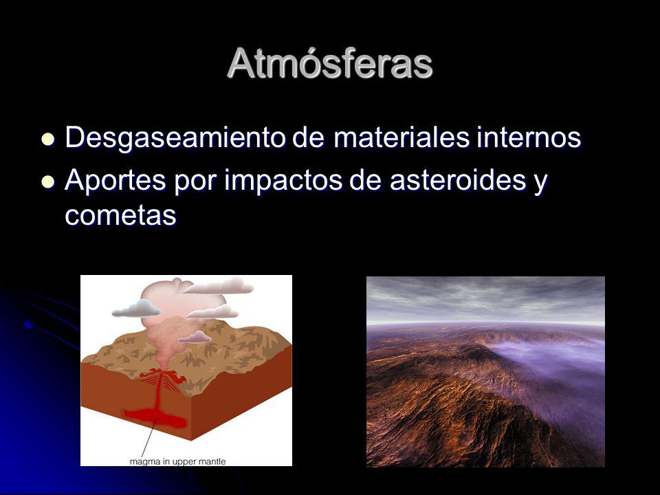 Atmósferas Desgaseamiento de materiales internos Desgaseamiento de materiales internos Aportes por impactos de asteroides y cometas Aportes por impactos de asteroides y cometas