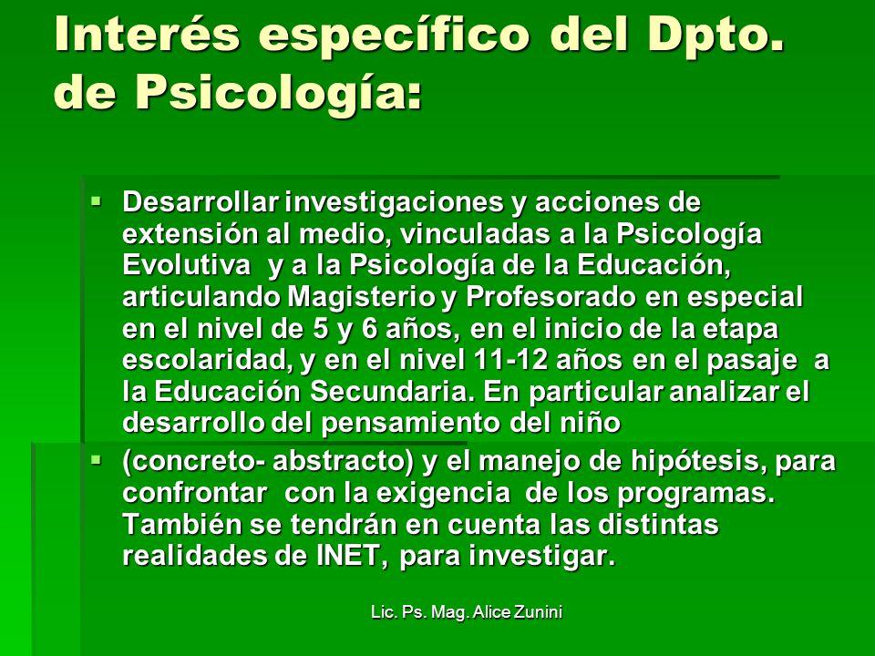 Lic. Ps. Mag. Alice Zunini Interés específico del Dpto. de Psicología: Desarrollar investigaciones y acciones de extensión al medio, vinculadas a la P