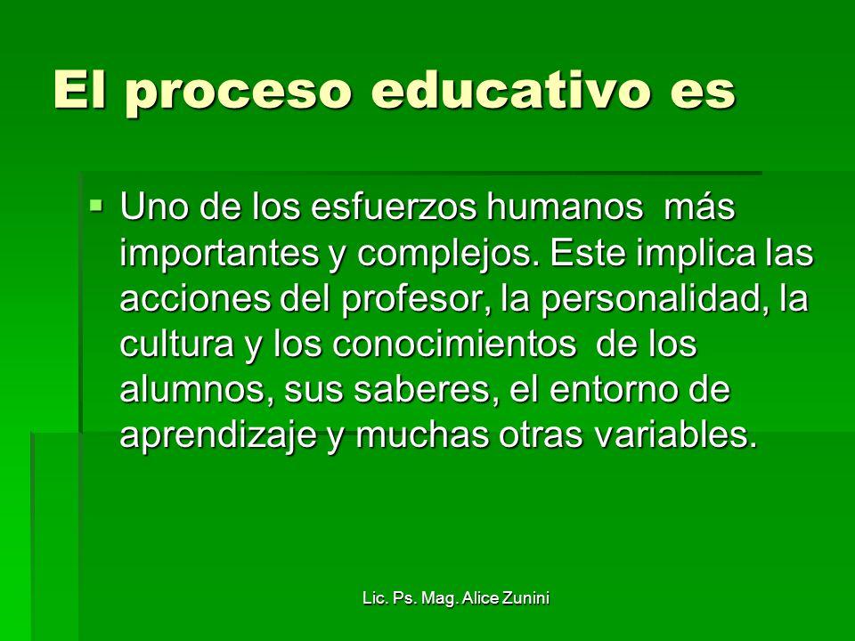 Lic. Ps. Mag. Alice Zunini El proceso educativo es Uno de los esfuerzos humanos más importantes y complejos. Este implica las acciones del profesor, l