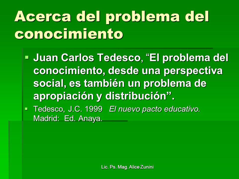 Lic. Ps. Mag. Alice Zunini Acerca del problema del conocimiento Juan Carlos Tedesco, El problema del conocimiento, desde una perspectiva social, es ta
