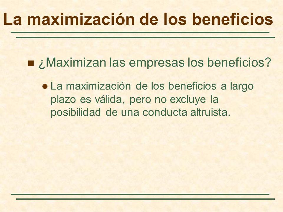 ¿Maximizan las empresas los beneficios? La maximización de los beneficios a largo plazo es válida, pero no excluye la posibilidad de una conducta altr