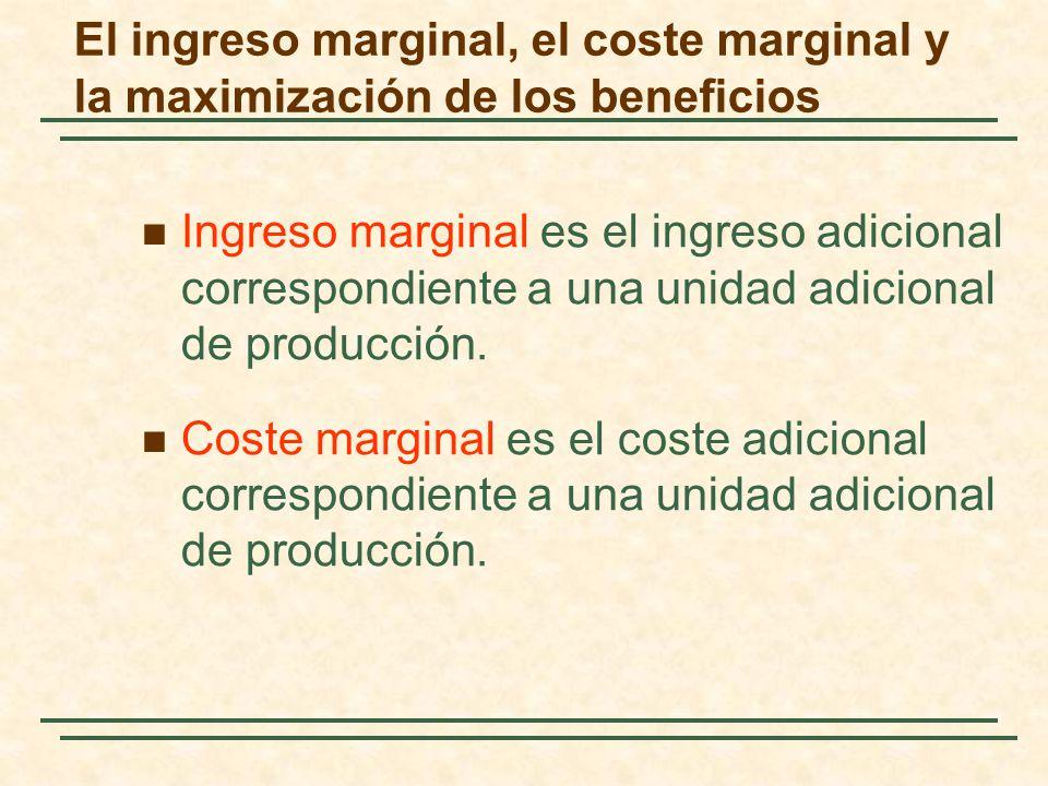 Ingreso marginal es el ingreso adicional correspondiente a una unidad adicional de producción. Coste marginal es el coste adicional correspondiente a