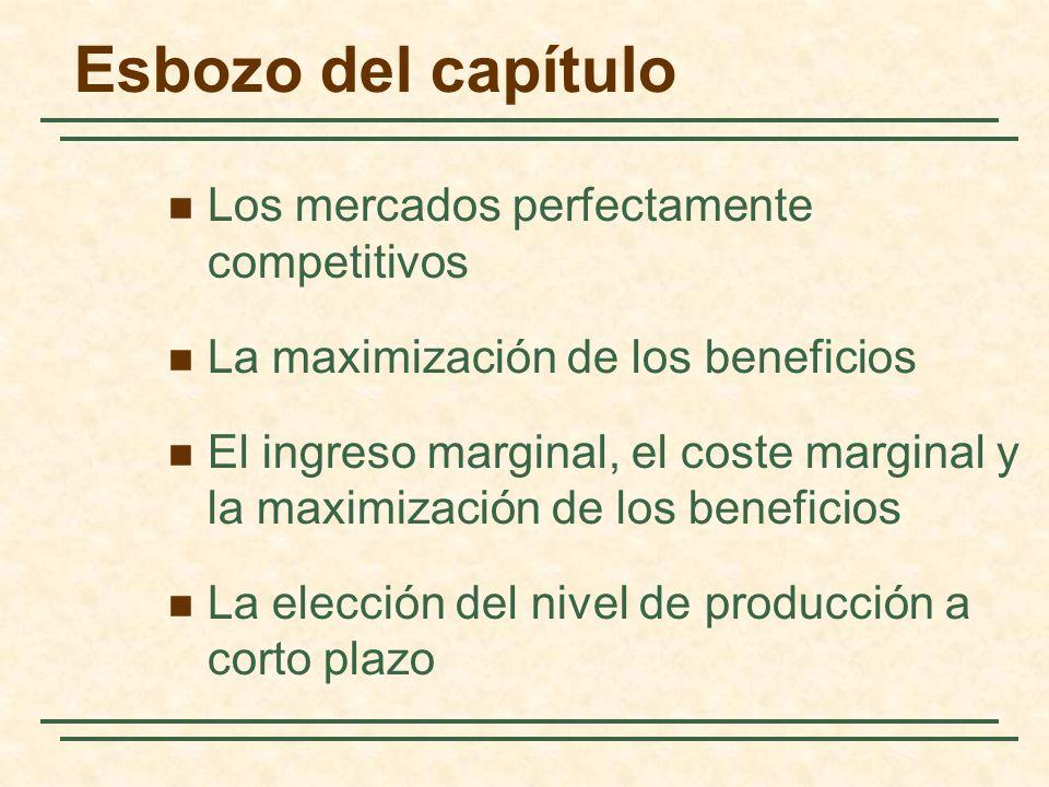 Esbozo del capítulo Los mercados perfectamente competitivos La maximización de los beneficios El ingreso marginal, el coste marginal y la maximización de los beneficios La elección del nivel de producción a corto plazo