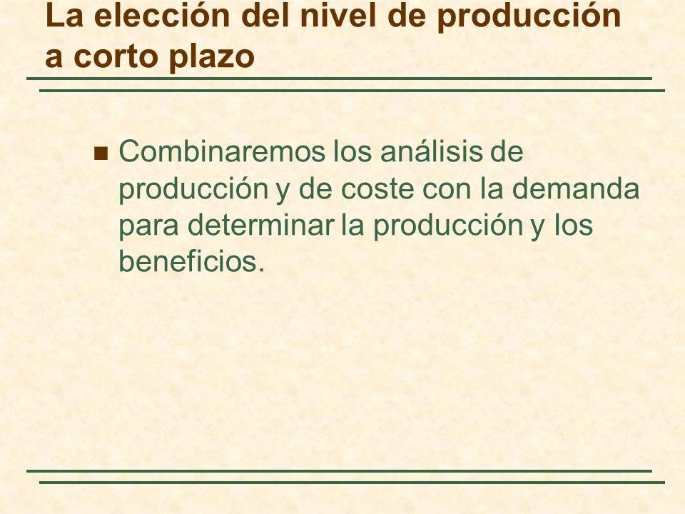 La elección del nivel de producción a corto plazo Combinaremos los análisis de producción y de coste con la demanda para determinar la producción y los beneficios.