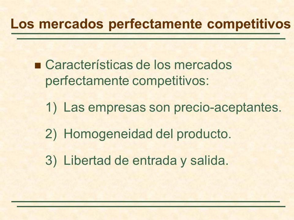 Los mercados perfectamente competitivos Características de los mercados perfectamente competitivos: 1)Las empresas son precio-aceptantes. 2)Homogeneid
