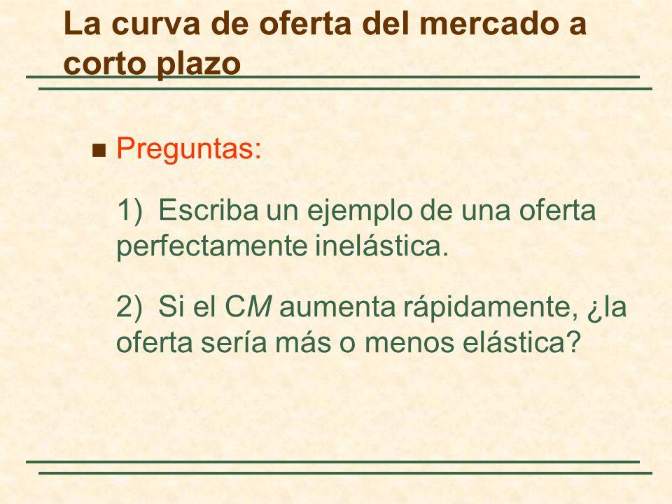 Preguntas: 1)Escriba un ejemplo de una oferta perfectamente inelástica. 2)Si el CM aumenta rápidamente, ¿la oferta sería más o menos elástica? La curv