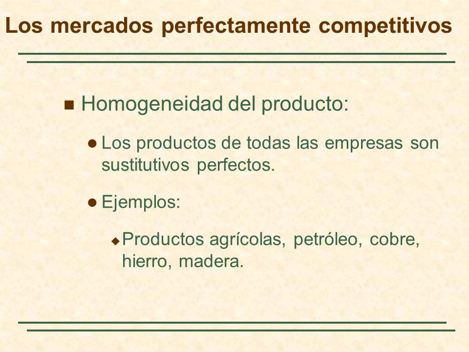 Homogeneidad del producto: Los productos de todas las empresas son sustitutivos perfectos. Ejemplos: Productos agrícolas, petróleo, cobre, hierro, mad
