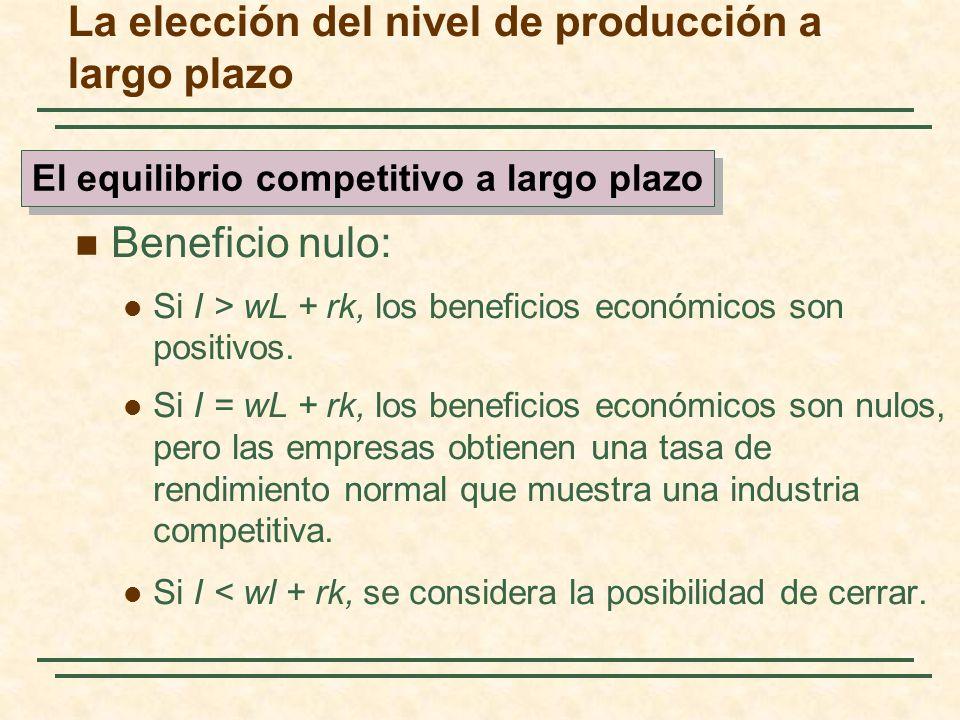 Beneficio nulo: Si I > wL + rk, los beneficios económicos son positivos. Si I = wL + rk, los beneficios económicos son nulos, pero las empresas obtien