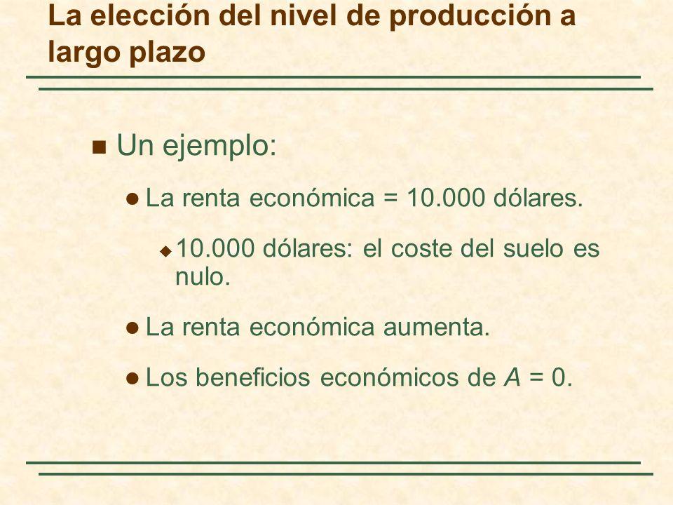 Un ejemplo: La renta económica = 10.000 dólares. 10.000 dólares: el coste del suelo es nulo. La renta económica aumenta. Los beneficios económicos de