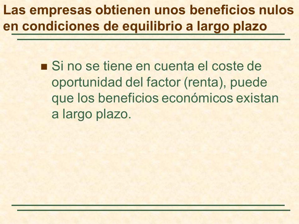 Si no se tiene en cuenta el coste de oportunidad del factor (renta), puede que los beneficios económicos existan a largo plazo. Las empresas obtienen