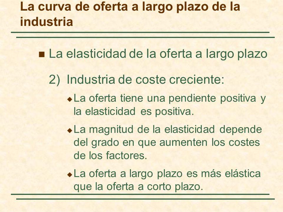 La elasticidad de la oferta a largo plazo 2)Industria de coste creciente: La oferta tiene una pendiente positiva y la elasticidad es positiva.