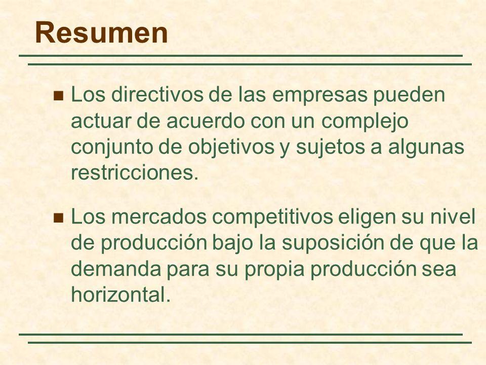 Resumen Los directivos de las empresas pueden actuar de acuerdo con un complejo conjunto de objetivos y sujetos a algunas restricciones. Los mercados