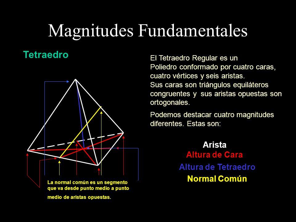 Observemos que es posible considerar secciones planas del tetraedro regular que contienen a todas las magnitudes fundamentales.