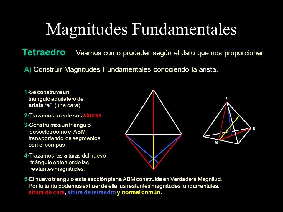 Magnitudes Fundamentales Tetraedro B) Construir Magnitudes Fundamentales conociendo la altura de cara.
