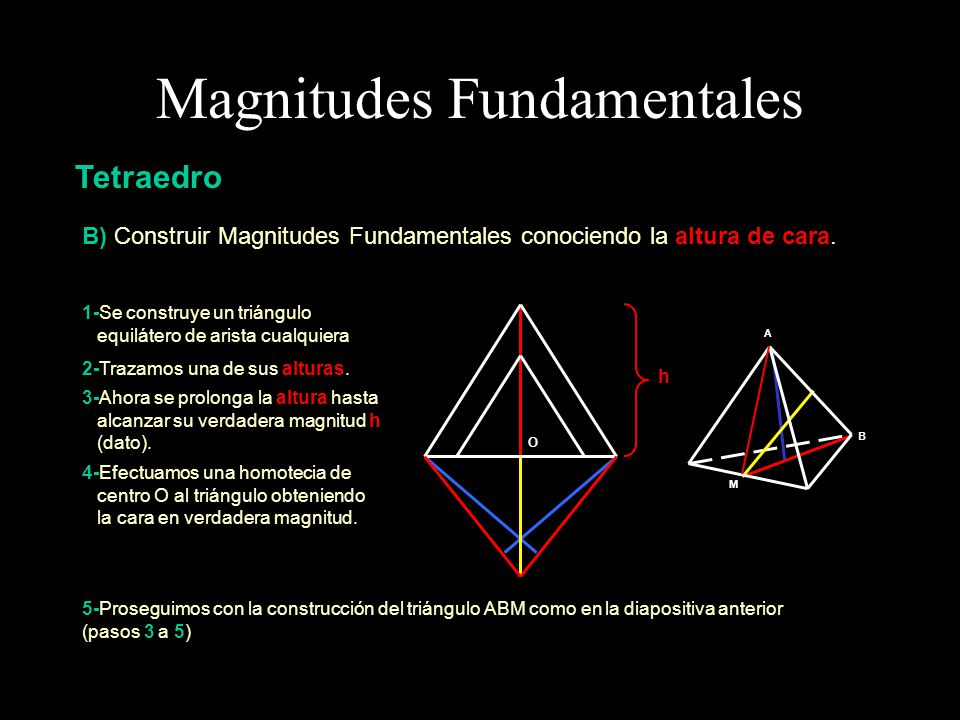 Magnitudes Fundamentales Tetraedro C) Construir Magnitudes Fundamentales conociendo la altura de tetraedro.
