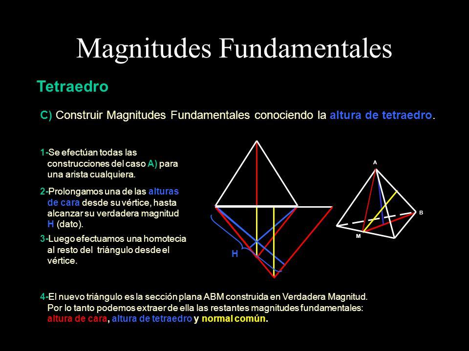 Magnitudes Fundamentales Tetraedro D) Construir Magnitudes Fundamentales conociendo la normal común.
