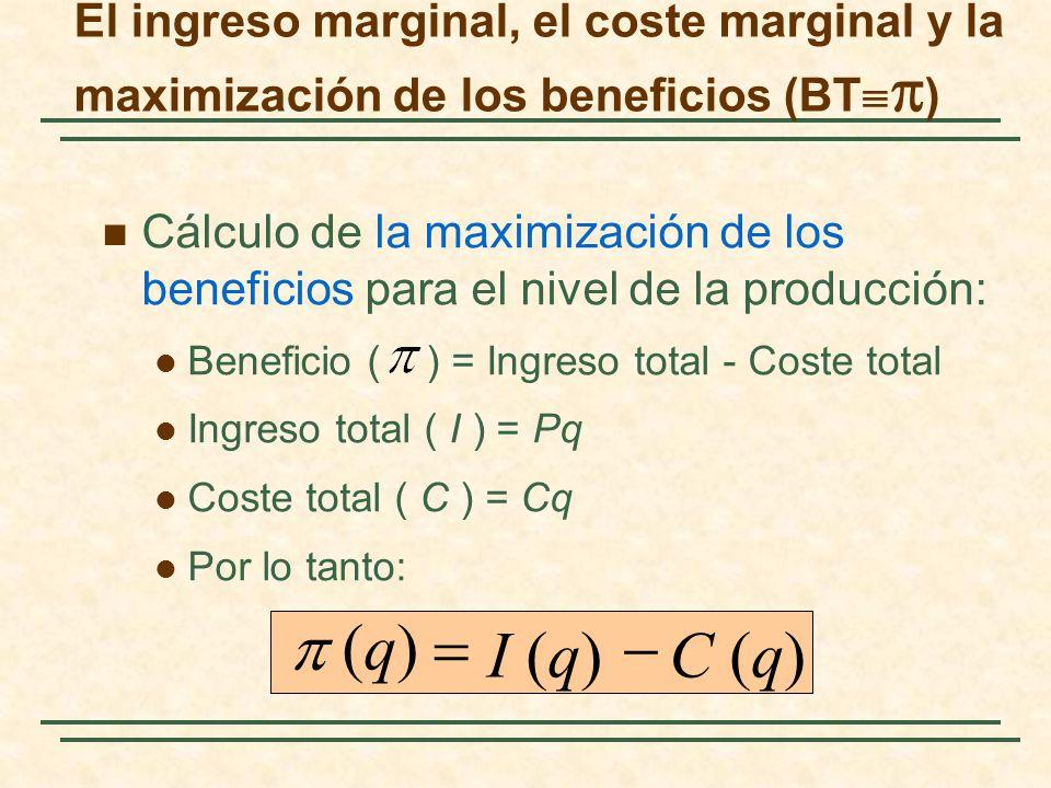 El ingreso marginal, el coste marginal y la maximización de los beneficios (BT ) Cálculo de la maximización de los beneficios para el nivel de la prod