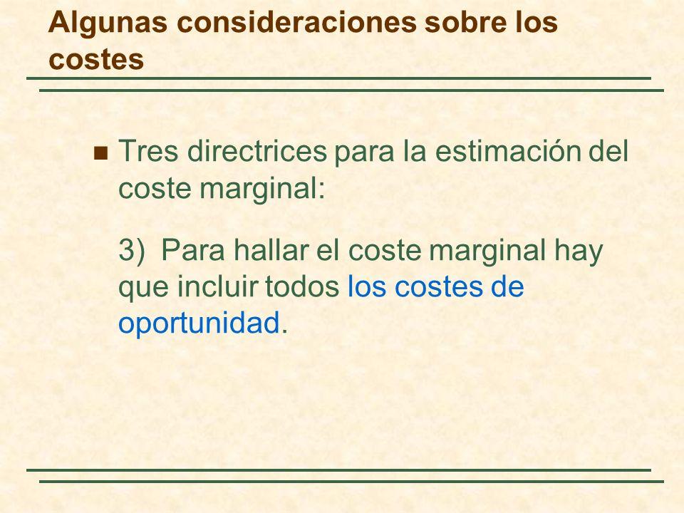 Tres directrices para la estimación del coste marginal: 3)Para hallar el coste marginal hay que incluir todos los costes de oportunidad. Algunas consi