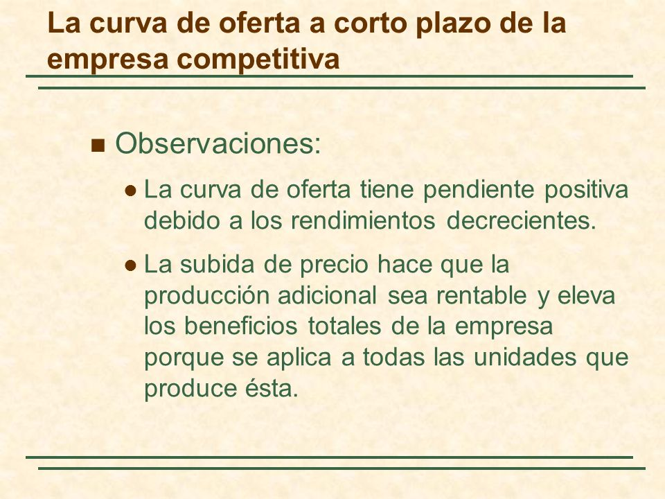 Observaciones: La curva de oferta tiene pendiente positiva debido a los rendimientos decrecientes. La subida de precio hace que la producción adiciona