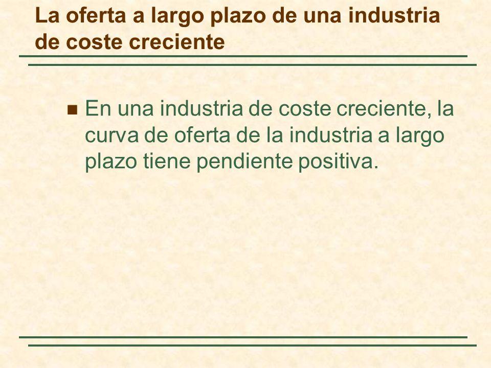 En una industria de coste creciente, la curva de oferta de la industria a largo plazo tiene pendiente positiva. La oferta a largo plazo de una industr