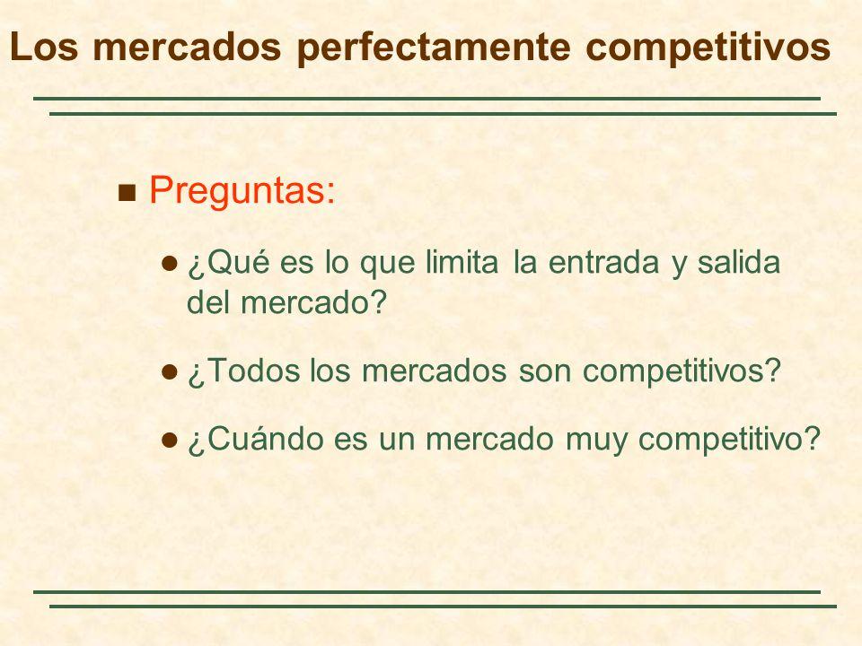 Preguntas: ¿Qué es lo que limita la entrada y salida del mercado? ¿Todos los mercados son competitivos? ¿Cuándo es un mercado muy competitivo? Los mer