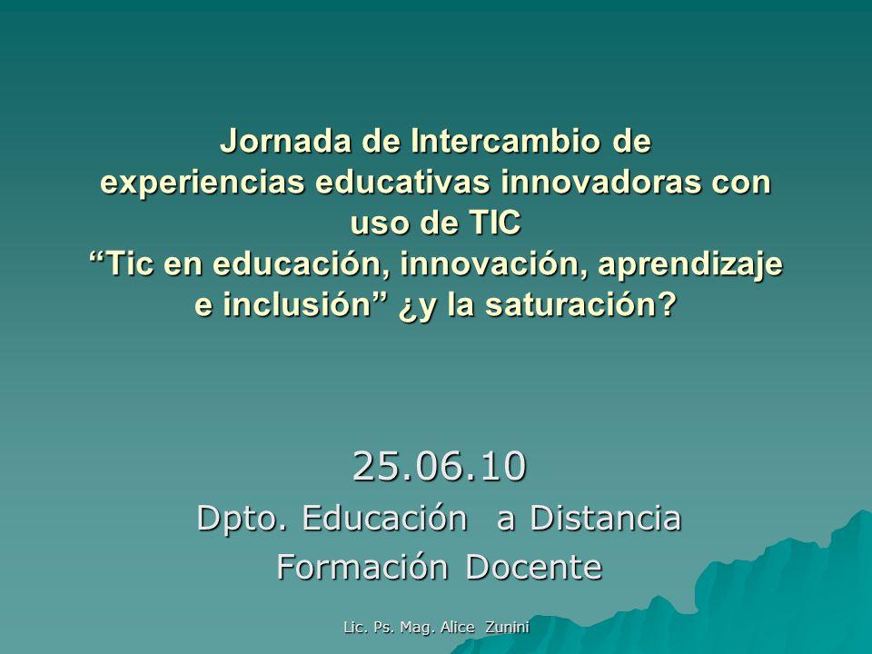 Lic. Ps. Mag. Alice Zunini Jornada de Intercambio de experiencias educativas innovadoras con uso de TIC Tic en educación, innovación, aprendizaje e in