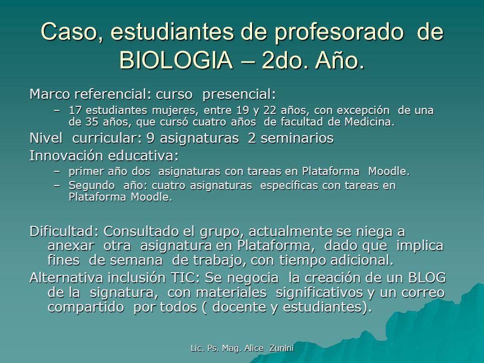 Lic. Ps. Mag. Alice Zunini Caso, estudiantes de profesorado de BIOLOGIA – 2do. Año. Marco referencial: curso presencial: –17 estudiantes mujeres, entr