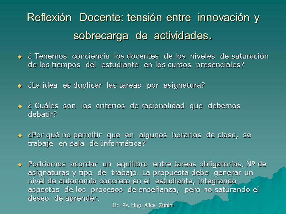 Lic. Ps. Mag. Alice Zunini Reflexión Docente: tensión entre innovación y sobrecarga de actividades. ¿ Tenemos conciencia los docentes de los niveles d