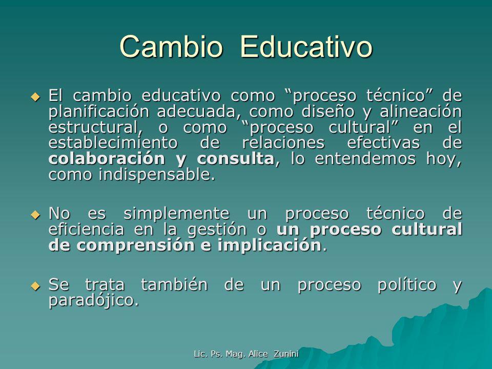 Lic. Ps. Mag. Alice Zunini Cambio Educativo El cambio educativo como proceso técnico de planificación adecuada, como diseño y alineación estructural,