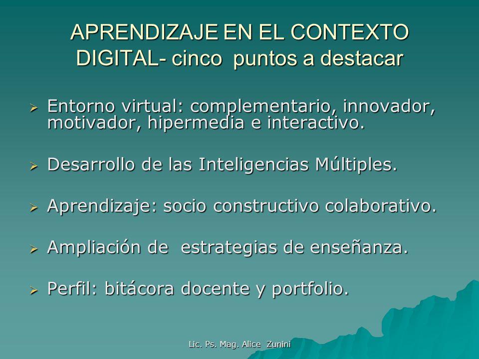 Lic. Ps. Mag. Alice Zunini APRENDIZAJE EN EL CONTEXTO DIGITAL- cinco puntos a destacar Entorno virtual: complementario, innovador, motivador, hipermed