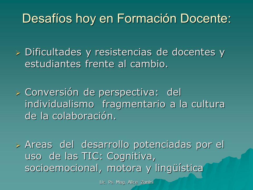 Lic.Ps. Mag. Alice Zunini Comunidades de aprendizaje en el marco digital, según A.